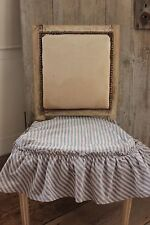 Chair Cushion Seat Cover Antique French white & blue stripes with ruffle 19th C.