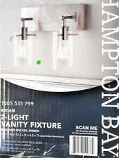 Regan 12.75'' 2Light Brushed Nickel Vanity Light /Clear Glass Shades Hampton Bay