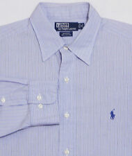 Men's POLO RALPH LAUREN Shirt 16 - 32/33 LARGE Blue Striped ANDREW 100% Cotton