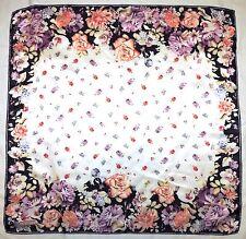 "Turkish Designer ARMINE Pink Blue Brown White FLORAL Roses Satin Silk 34"" Scarf"