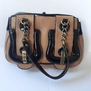 New Fendi B Bag Tan Brown Black Leather Patent Chain Shoulder Handbag 439012