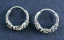 HOOP EARRINGS, BALI style, Solid Sterling Silver, 1.4cm *NEW* 14mm, thick sturdy