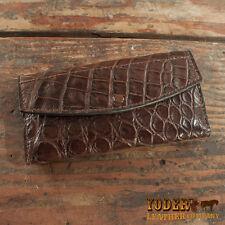 Women's Brown Alligator Leather Clutch Handbag Wallet - Amish Handmade Gator