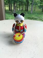 Vintage Wind-up Panda Drummer Tin Toy China GC