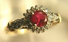 10K Yellow Gold Ruby And Diamond Halo Ring Size 7