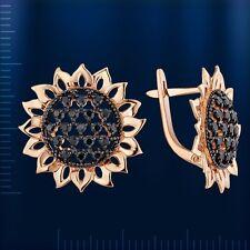 Russian Rose gold 14k/ 585 sunflower earrings black CZs NWT 5,44g.