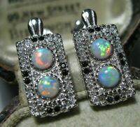 Art Deco Style Sterling SILVER Gilson OPAL & Topaz Geometrical EARRINGS