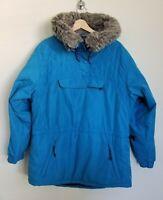 L L Bean Blue Jacket Pullover 1/4 Snap Faux Fur Trim Hood Fleece Lined Pockets L