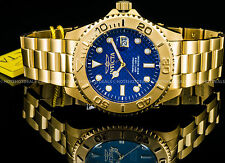 Invicta 47mm Mens Pro Diver Swiss ISA Blue Carbon Fiber 18K Gold Plated SS Watch