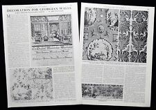 ANTIQUE GEORGIAN ENGLISH  WALLPAPER MAKERS 2pp PHOTO ARTICLE 1973