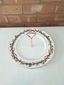 Royal Worcester One Tier Cake Stand  Holly Ribbons - Made In England