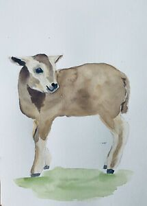 "Original Watercolour Painting Portrait Sheep/ Lamb 8x12"" A4 by D Coleman"
