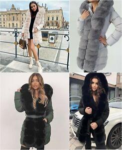 PARKA - Grey/Grey Mid-length parka Adorned with fur Large fur hood Zip closure