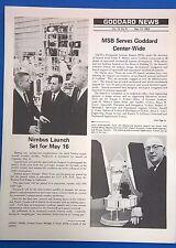 NASA Goddard News & Inside Goddard newsletters May 13 1968 Nimbus launch