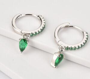Sterling Silver Emerald huggie earrings Crystal Hoop CZ Charm Gift For Her Boho