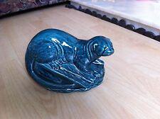 POOLE BLUE GLAZED OTTER ON ROCK ANIMAL FIGURE - BARBARA LINLEY ADAMS - MUST SEE