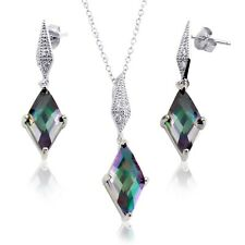 Simulated Mystic Rainbow Topaz Sterling Dangle Diamond Earring Necklace Set
