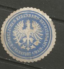 Frankfurt Royal Railway Operations Office stationery seal/siegelmarke