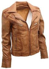 Ladies Casual Tan Lamb Nappa Leather Biker Jacket