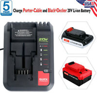 FOR PORTER CABLE 20 Volt 20V MAX Lithium Ion Fast RAPID Battery Charger PCC692L
