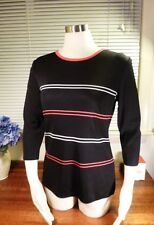 Exclusively Misook Acrylic Black with Pink/White stripe 3/4 Sleeve Sweater PS