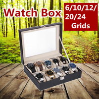 6/10/12/20/24 Slot Watch Box Leather Display Case Organizer Jewelry Storage
