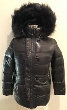 DKNY Long Down Black Coat Puffer Parka Jacket Faux Fur Trim Hood Belted Sz XS