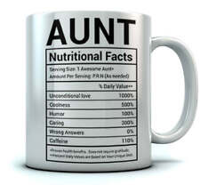 Gifts for Aunt Nutritional Facts Label Funny Coffee Mug for Aunt Tea Cup Mug