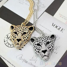 LEOPARD PANTHER TIGER HEAD RHINESTONE CRYSTAL SILVER NECKLACE GOLD AND SILVER