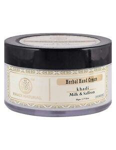 KHADI NATURAL Milk & Saffron Herbal Hand Cream with Shea butter-50g Free Ship