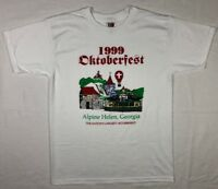 Vtg 90s German Oktoberfest Alpine Helen Men's White S/S T-Shirt Sz Large C4