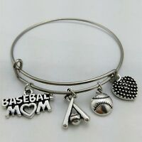 Baseball Mom Charms Women Bracelet Stainless Steel Wire Bangle Baseball Bats