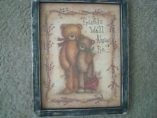 """Primitive Country Print *BEAR WITH FRIEND* in black frame 9 1/2"""" x 11 1/2"""" FREE"""