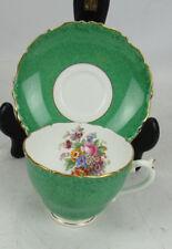 Coalport Green Gold Flower Bouquet Bone China Tea Cup & Saucer