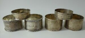 6 x solid silver NAPKIN / SERVIETTE RINGS - 2 x matching pairs, Chester h/m etc