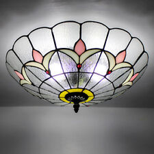"""10"""" Flush Mount Tiffany Style Ceiling Light Stained Glass Lamp Shade Fixture"""