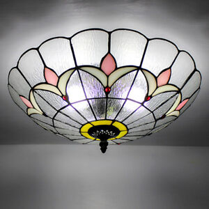 Tiffany Style Pendant Lamp Ceiling Handcrafted Shade Glass Stained Hanging Light