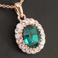 4 Ct Oval Cut Green Emerald White CZ Halo Necklace 14K Rose Gold Plated Gift Box