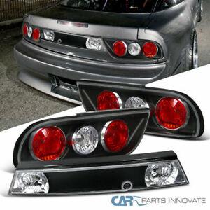 For 89-94 Nissan 240SX S13 3Dr Hatchback Black Tail Lights+Center Trunk Lamp