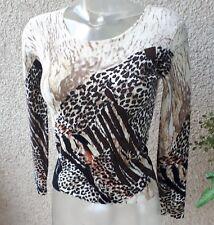 Leopard Shirt Gr.S/38 warm Creme Braun Schwarz Luxus Pailetten Stretch Langarm