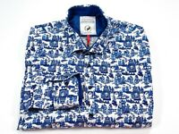 A Fish Named Fred XL Men's Blue White Long Sleeve Button Front Shirt