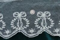 "Antique c1910-1920 French Cotton Machine Lace Bow & Floral Net Yardage~78""X6"""