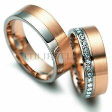 10K WHITE & ROSE GOLD HIS & HERS DIAMOND WEDDING BANDS, MATCHING WEDDING RINGS