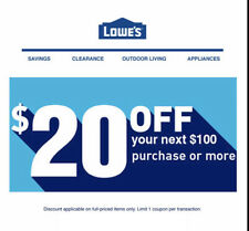 2X Lowes $20 OFF $100Coupon-ONLINE/INSTORE-_FAST_SENT  MESSAGE Delivery-EXP10/31