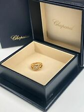 Chopard 18K Yellow Gold 3 Happy Floating Round Diamond Heart Ring Size 4.5
