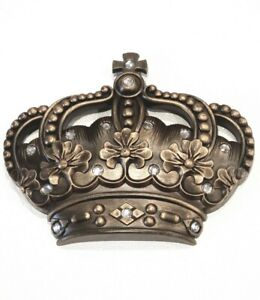 Crown Wall Decor Art Princess Prince King Queen Hers Jeweled Antiqued Gold New