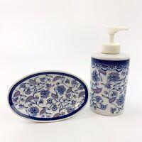 Vtg OTAGIRI Blue Flower Mary Ann Soap Dispenser And Soap Dish Ceramic Japan