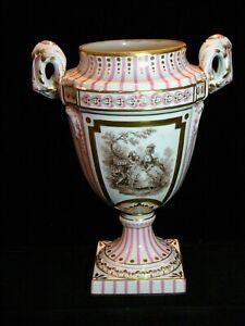 Antique Sevres Pink Striped Gilt Porcelain Urn, no Lid, Courting Couple