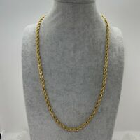 VINTAGE Rope Twist Chain Necklace Gold Tone Collar Length Retro 70s Disco 80s