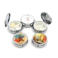 1PC Portable Metal Round Organizer Compartment Pill Case Medicine Box WL